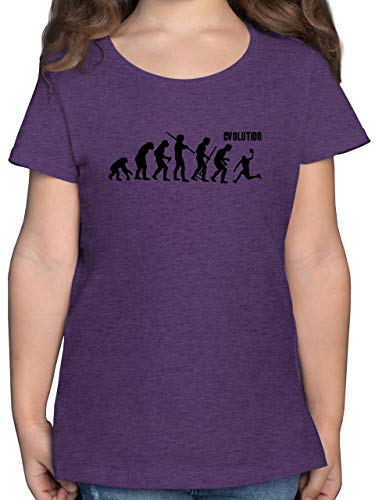 Evolution Kind - Evolution Basketball - 116 (5/6 Jahre) - Lila Meliert - F131K_Shirt_Mädchen - F131K - Mädchen Kinder T-Shirt