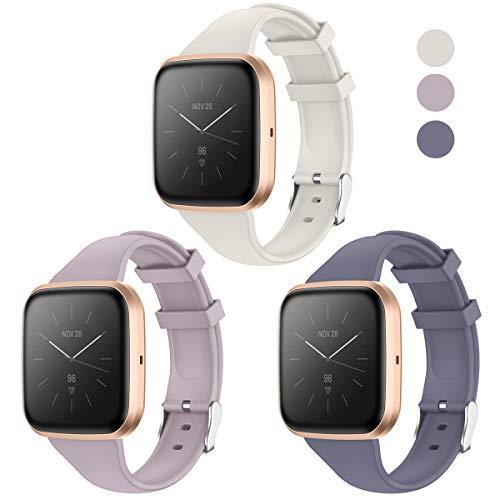 KIMILAR Armband Kompatibel mit Fitbit Versa/Versa 2 /Versa Lite/SE Armbänder Silikon, Schlank Ersatzband Uhrenarmband für Versa Special Edition Smartwatch -Blaugrau/Lila Grau/Off-Weiß, L