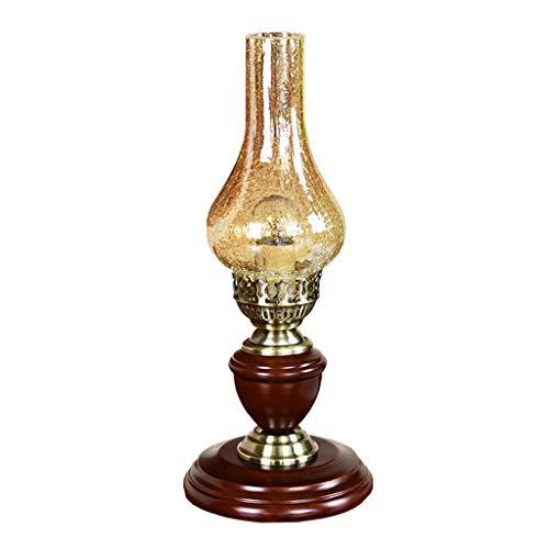 Lámpara de mesa para dormitorio, estilo retro, lámpara de mesa de madera maciza, cuerpo y floral, pantalla de cristal, diseño adecuado para salón, dormitorio, lámpara de mesa de noche