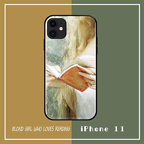 SWE beschermhoes voor iPhone 11 / 11Pro, van gehard glas, ultradun, thermoplastisch polyurethaan, olieverfschilderij in retro-stijl, Franse beschermhoes - engel met oorbellen AA+++