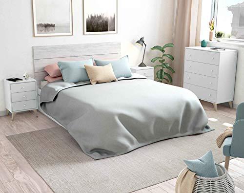 Miroytengo Conjunto habitación Matrimonio Sire Color Blanco Estilo nórdico (Cabecero + 2 mesitas + cómoda) 150 o 135