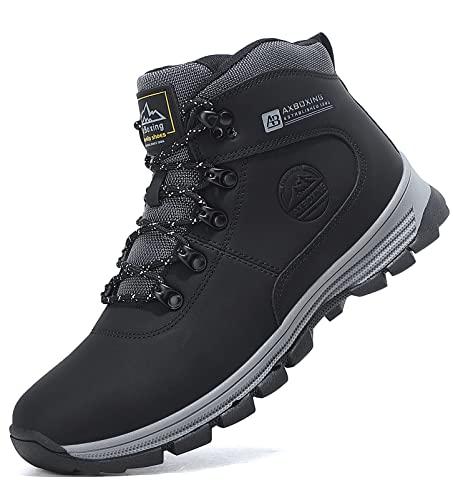 TARELO Botas Hombre Invierno Cálido Forro Piel Zapatos de Nieve Trekking Botines de Senderismo Tamaño 41-46(EU, Negro, Numeric_41)