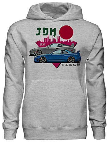 Legendary JDM Heros Toyota Supra and Nissan GTR r34 Fan Artwork Unisex Pullover Hoodie with Pockets - Ring Spun Cotton Hooded Sweatshirt - Soft and Warm Inside - DTG Printed