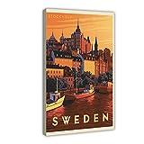 Retro Reise Schweden Stockholm Leinwand Poster Wandkunst