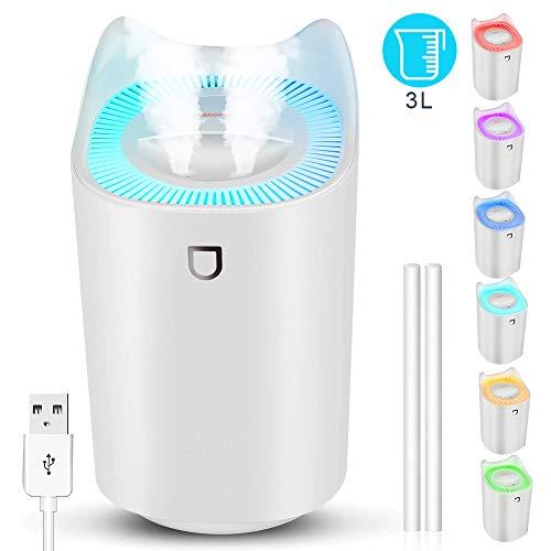 StillCool Luftbefeuchter, 3L Ultra Leise USB Air Humidifier mit 7 Farben LED und 2 Sprühöffnungen, Bis zu 24-48 h Stunden Dauerbetrieb für Haus Yoga Büro