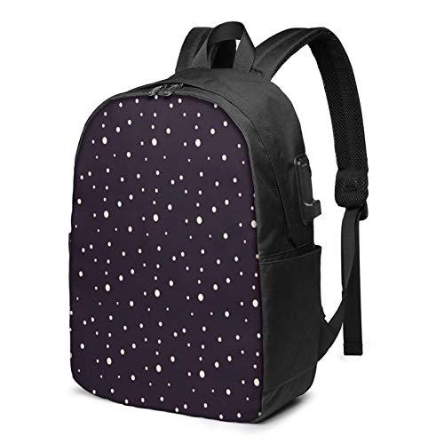 School Bag Back Pack,Laptop Backpack with USB Port Big Small Dot, Business Travel Bag, College School Computer Rucksack Bag for Men Women 17 Inch Laptop Notebook