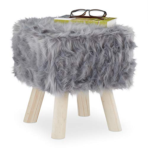 Relaxdays Fellhocker Kunstfell, Dekohocker mit Holzbeinen, Sitz- & Fußhocker, Schminktisch, HBT: 37 x 32 x 32 cm, grau