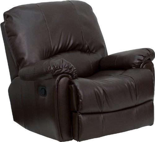 Big Sale Flash Furniture HU-2503-BRN-GG Over Stuffed Brown Leather Rocker Recliner