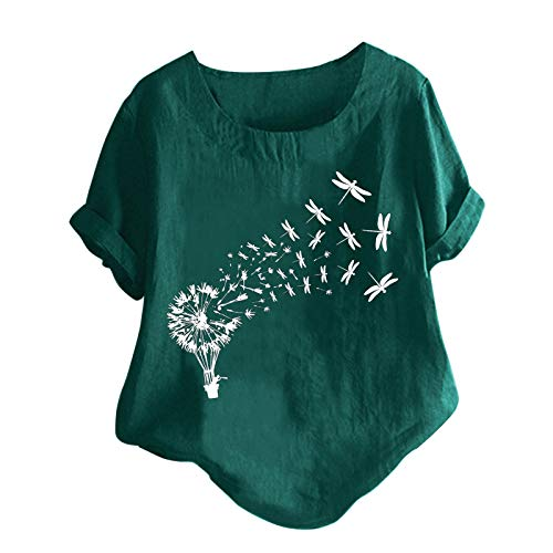JUNLIN Womens 4Th of July Outfit Funny T Shorts for Women Blouse Women Tops and Blouses Sexy Womens Tops Plus Size (Green-01 3X-Large