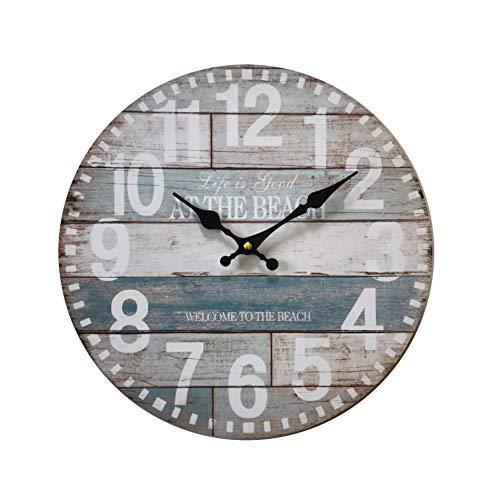 Rebecca Mobili Reloj Decorativo, Relojes de Pared, Estilo rústico, analógico, para salón - Medidas Ø 33,8 cm x P 4 cm (AxANxF) - Art. RE6144