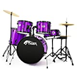 Tiger Full Size 5 Piece Drum Kit - Purple