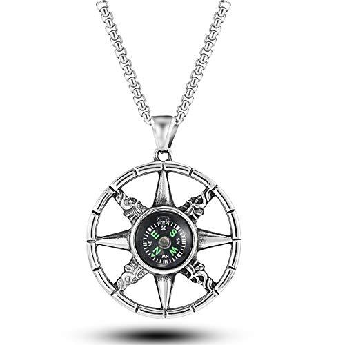 Alushisland Kompass Anhänger Herren Retro Titanium Stahl Halskette Edelstahl Outdoor Survival Tool