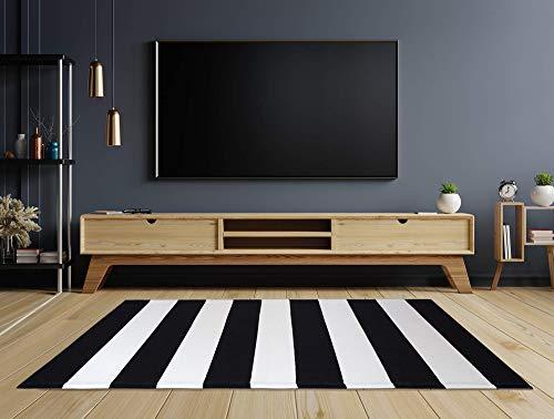 TRUFFE 5☆ Alfombra grande en blanco y negro, disponible en el Reino Unido, con textura tejida, a rayas, 70 x 110 cm, felpudo, interior y exterior, sala de estar, dormitorio, habitación infantil