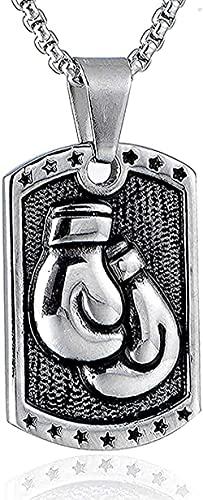 LBBYLFFF Collar Collar de Moda Collar de Acero Inoxidable Plateado Falda Punk Guantes de Boxeo Collar con Colgante Perro Templo Deporte Caja de Hombre Collares Joyería Regalo para él Regalos 60cm