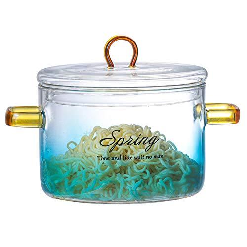 Groust Cacerola redonda de cristal de 13 cm con tapa, olla de cristal resistente al calor, olla de cristal para pasta de fideos, sopa, leche, comida para bebés