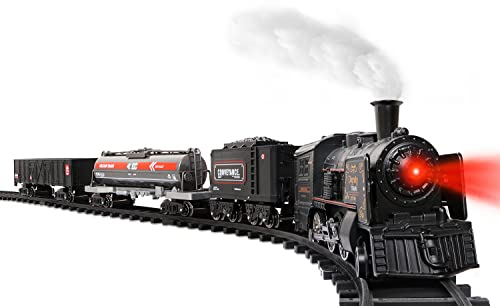 Hot Bee Model Train Set for Boys - Metal Alloy Electric Trains w/ Steam Locomotive,Oil Tank Train,Cargo Cars & Tracks,Train Toys w/ Smoke,Sounds & Lights,Christmas Toys for 3 4 5 6 7+ Years Old Kids