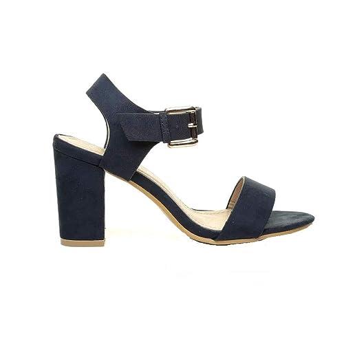 75ea530ecc072 Gizelle Womens Low MID Heel Block Peep Toe Ladies Ankle Strap Party Strappy  Sandals UK 3