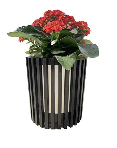 Maceta de Plástico Blanco con Negro Redonda para Plantas y Flores Mediterránea con Orificios Inferiores. Recipiente Ideal para jardín Exterior, Terraza, Balcón e Interior del Hogar (12_cm)
