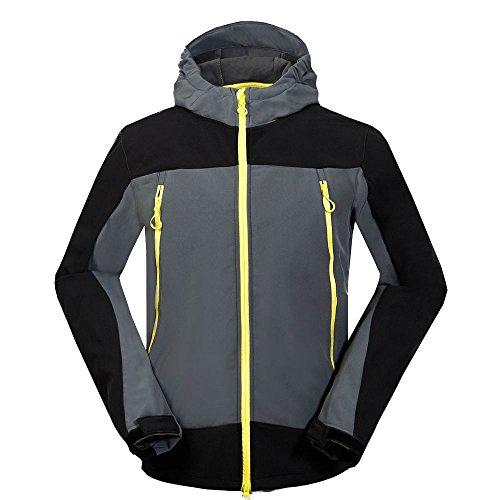 MOUNT CONQUER Homme Coupe-Vent Imperméable Softshell Doublé Polaire Manteau Outdoor Sport Veste de Camping Randonnée Escalade (XX-Large, Gris)
