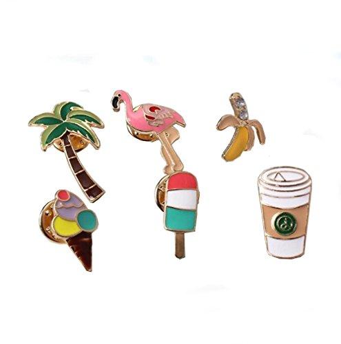 GuDeKe Juego de broches y alfileres de diamantes para mujer, diseño de flamenco, con diseño de árboles de coco, para mujer, niños (6 piezas)