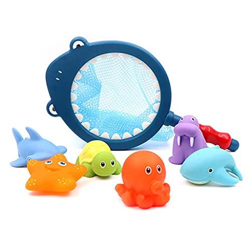 ZZALLLJuego de Juguetes de Rescate para niños pequeños con Forma de Animal Flotante, baño para bebés, Juegos de Agua - S #