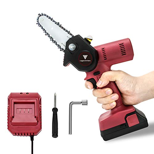 Loggers Art Gens Upgrade Mini Chainsaw 4-Inch Cordless Electric Hand Chain Saw with Higher Power Motor and Safer Protable Chainsaw for Tree Branch Wood Cutting - Red 680w