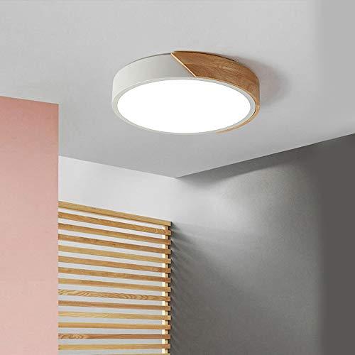 EDISLIVE LED Lámpara de techo madera luz de techo Dimmable Iluminación Dormitorio Sala de estar Lámpara de techo de montaje empotrado (Blanco, 30cm)
