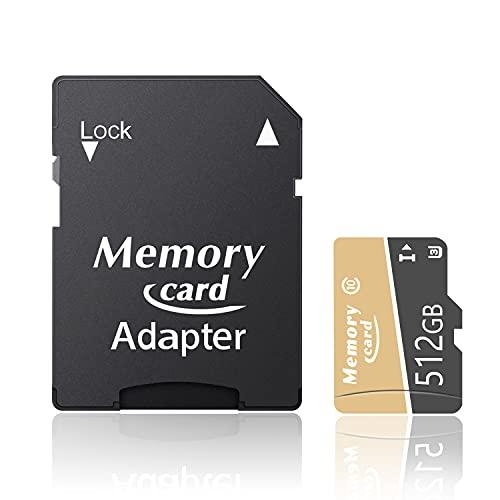 YAMOOTK マイクロ メモリーカード full HD 大容量拡張 Class10対応 超高速100MB/S U3、A1 5年保証 TFカード 変換アダプター付属-E(512GB)