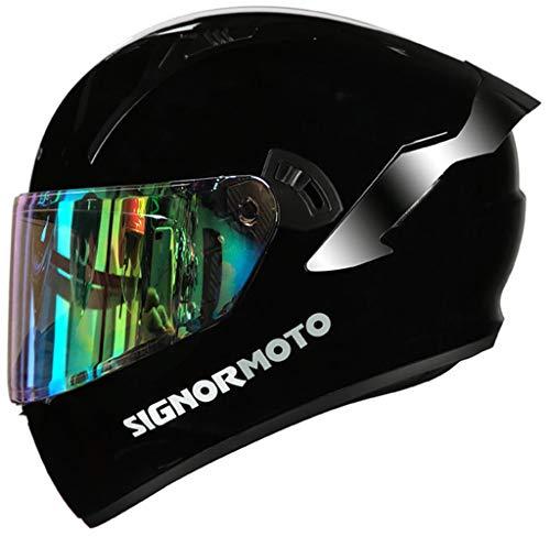Casco de Moto Integral, Personalidad Scooter Helmet para Mujer Hombre Adultos con Doble Visera, Forro Extraíble y Lavable - Negro Mate Sólido Color,Gloss Black Iridium Visor-XXL