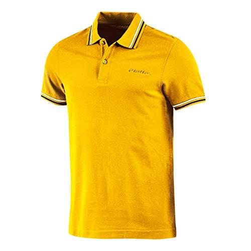 Lotto Polo para hombre de piqué de algodón para playa, tenis, barco, fútbol, deporte, L73 PQ PJ 1sx Nectar Yellow/Navy Blue S