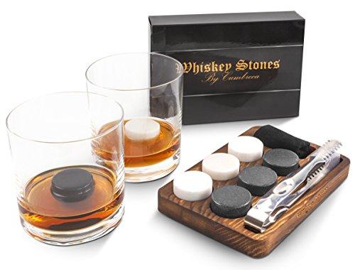 Cumbreca Runde Whisky Steine, Geschenkset aus 6 Granit-Eissteinen, Kühlung Ihres Whiskys, Wein und anderer Getränke, wiederverwendbare Trink-Eiswürfel, Holzkiste, Edelstahl-Zange + Schutzhülle