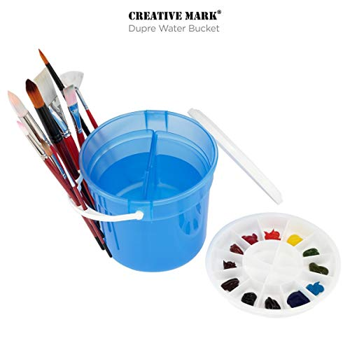 Creative Mark Dupre Water Bucket Basin with Palette and Lid - Dual Water Basins and Slots for Holding Brushes, Deep Well Palette with 12 Perimeter and Four Interior Wells