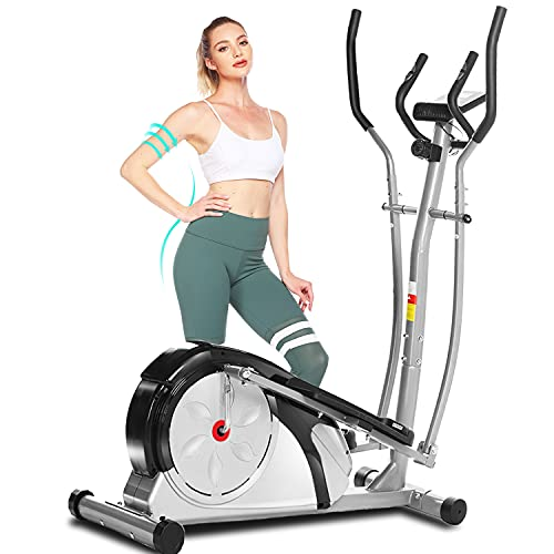 ANCHEER Elliptical Machine, Portable Magnetic Cross Trainer Machine with LCD Display Quiet Driven and Pulse Rate for Home Office