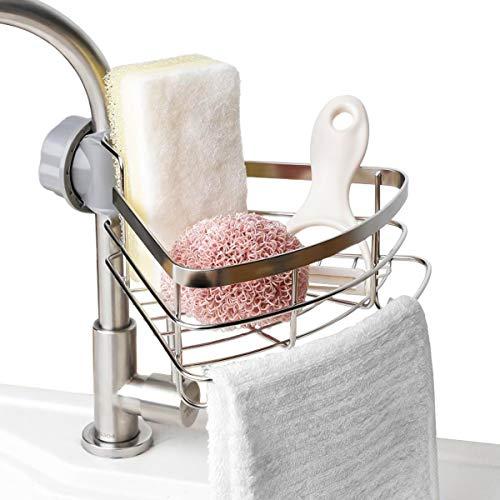 Duwee Kitchen Sink Caddy Organizer with Dishcloth Hanger, Full Stainless Steel Sink Sponge Holder, Rustproof Soap Brush Holder, for Kitchen and Bathroom, Silver