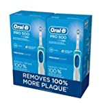 Oral B Pro 500 Rechargable Toothbrush Twin Pack Removes 100% Plaque Netcount 2, 2Count