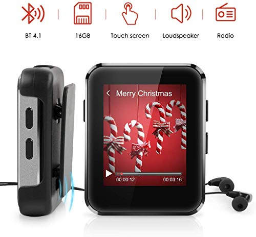 Kingbox Mp3 Player with Bluetooth, Music Player with Clip Supports Full Touch Screen, Built-in Speaker, HiFi Lossless Mp3 Music Players with FM Radio, Voice Recorder (8GB, Up to 128GB)
