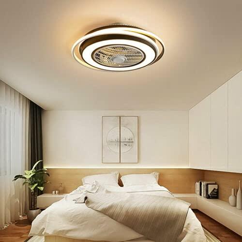 Ventilador de techo LED de 23 pulgadas con luz, moderna lámpara de techo con mando a distancia, 3 tipos de colores de iluminación, velocidad del viento ajustable, silencioso, para dormitorio o salón