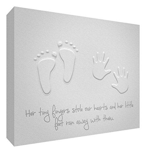 Feel Good Art Galerie enveloppé Nursery toile moderne en design (20 x 30 x 3 cm, petit, souple, gris, ses petits pieds Stole nos cœurs)