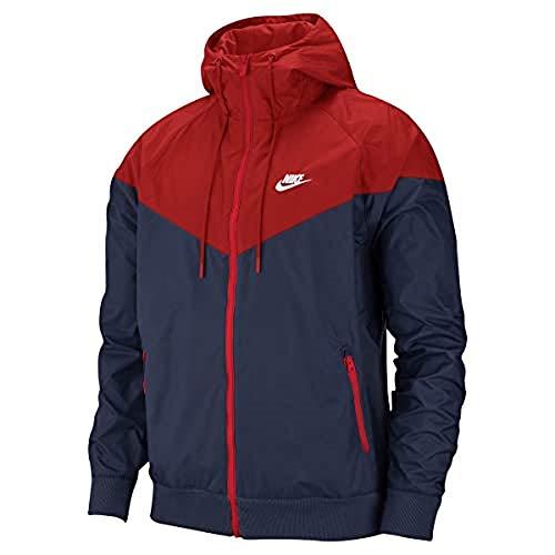 Nike Herren M NSW HE WR JKT HD Sport Jacket, Midnight Navy/University red/Midnight Navy/(White), S