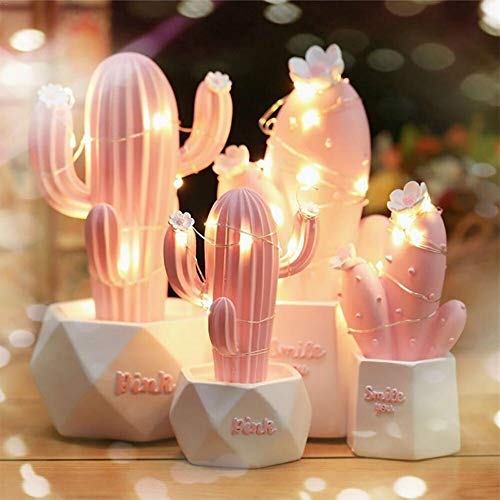 Ins Cactus LED Lámpara de mesa Rosa Cute Girl Heart Dream Star Lámpara Pequeña Creative Night Light Dormitorio Decoración Regalo para niños Pink A