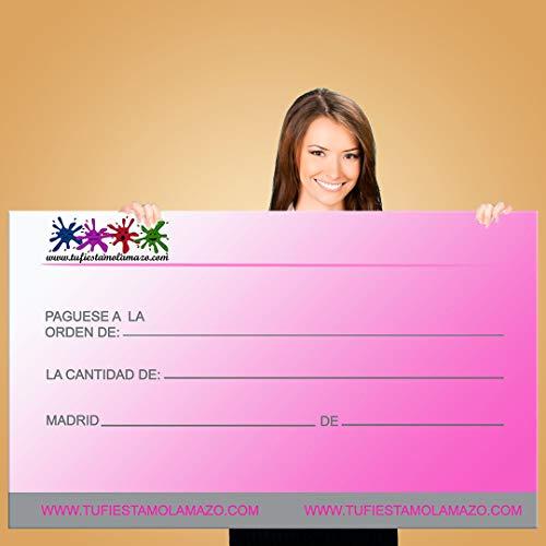 Cheque Gigante Rosa 120x60cm| Decoración Fiesta| Premio Concurso| Divertido Cheque
