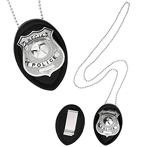 Widmann 05860 – Polizeimarke mit Halskette, mit Aufschrift Special und Police, Silber und Schwarz, Abzeichen, für Polizeikostüme, Karneval, Motto Partys