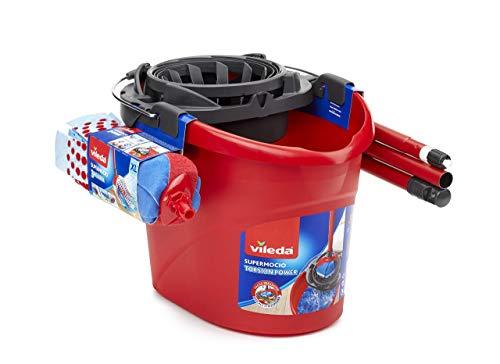 Vileda SuperMocio Set Mocio con Manico, Secchio, Fiocco 3Action XL, Strizzatore Torsion Power, Rosso, 45 x 33 x 32 cm
