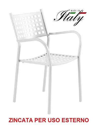 ALTIGASI Chaise Fauteuil pour Usage extérieur modèle Alice CH1550 Blanc Perle zingué et Vernie à poussières pour résister aux intempéries – produite en Italie de vermobil