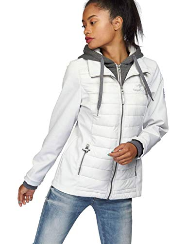 KangaROOS Damen Jacke Materialmix Softshell Steppjacke Sweat Kapuze … (Hellgrau, 38)