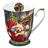 Ambiente Taza Navidad 0.25 Litro Porcelana fina Cachorro en el fuego