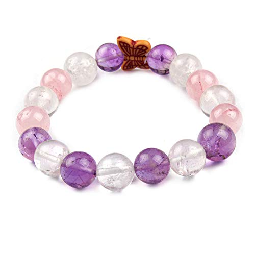 Jingle Jewels Pulsera de cuentas de bolas, pulsera de cuentas de piedras preciosas naturales, pulsera unisex con cuentas de mariposa, regalo de San Valentín, pieza ajustable