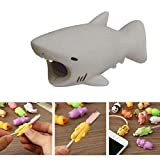 YMH Cable Protector iPhone iPad Cable Android Cord Plastic Cute Sea Animals Phone Accessory Protects USB Charger Data Protection Cover Chewers Earphone Cable Bite (Gray Shark)