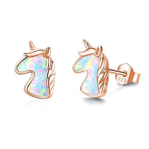 Pendientes de unicornio de oro rosa,Pendientes de niña antialérgico de plata pura, lindo regalo de unicornio, pendientes ópalo pendientes