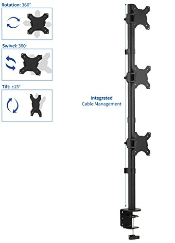 VIVO Triple LCD Monitor Desk Stand, Desktop Mount, Stacked Vertical 3 Screens up to 27 inches (STAND-V003V) Photo #4
